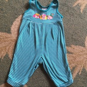 VTG Girl's Overall/ Jumper 90s Blue & White Stripe